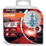 Set 2 Becuri auto halogen Osram H4 Night Breaker Laser,+130%, 55W, 12V