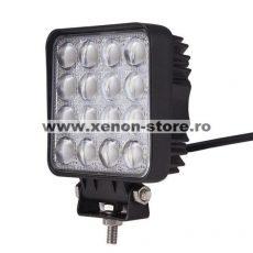 Proiector LED Auto Offroad 4D 48W/12V-24V, 3520 Lumeni, Patrat, Flood Beam 60 Grade