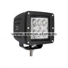 Proiector LED Auto Offroad 18W/12V-24V, Patrat, 1320 Lumeni, Spot Beam 8 Grade